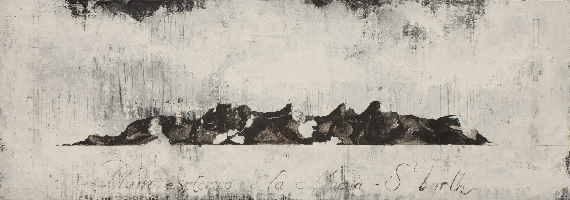 El plano esoterico de la nueva St. Barth, 2010 87 x 245 cm / 34.3 x 96.5 inches Pigments & Japanese ink / Canvas