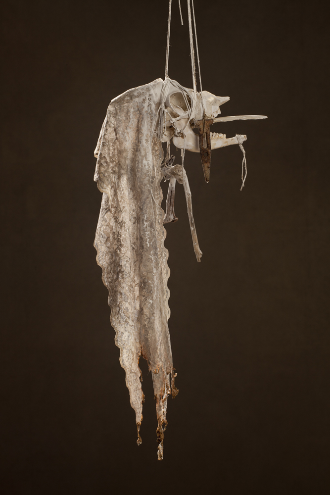 N48, 2011 27 x 15 x 59 cm / 10.6 x 5.9 x 23.2 inches Mixed Media / goat Skull