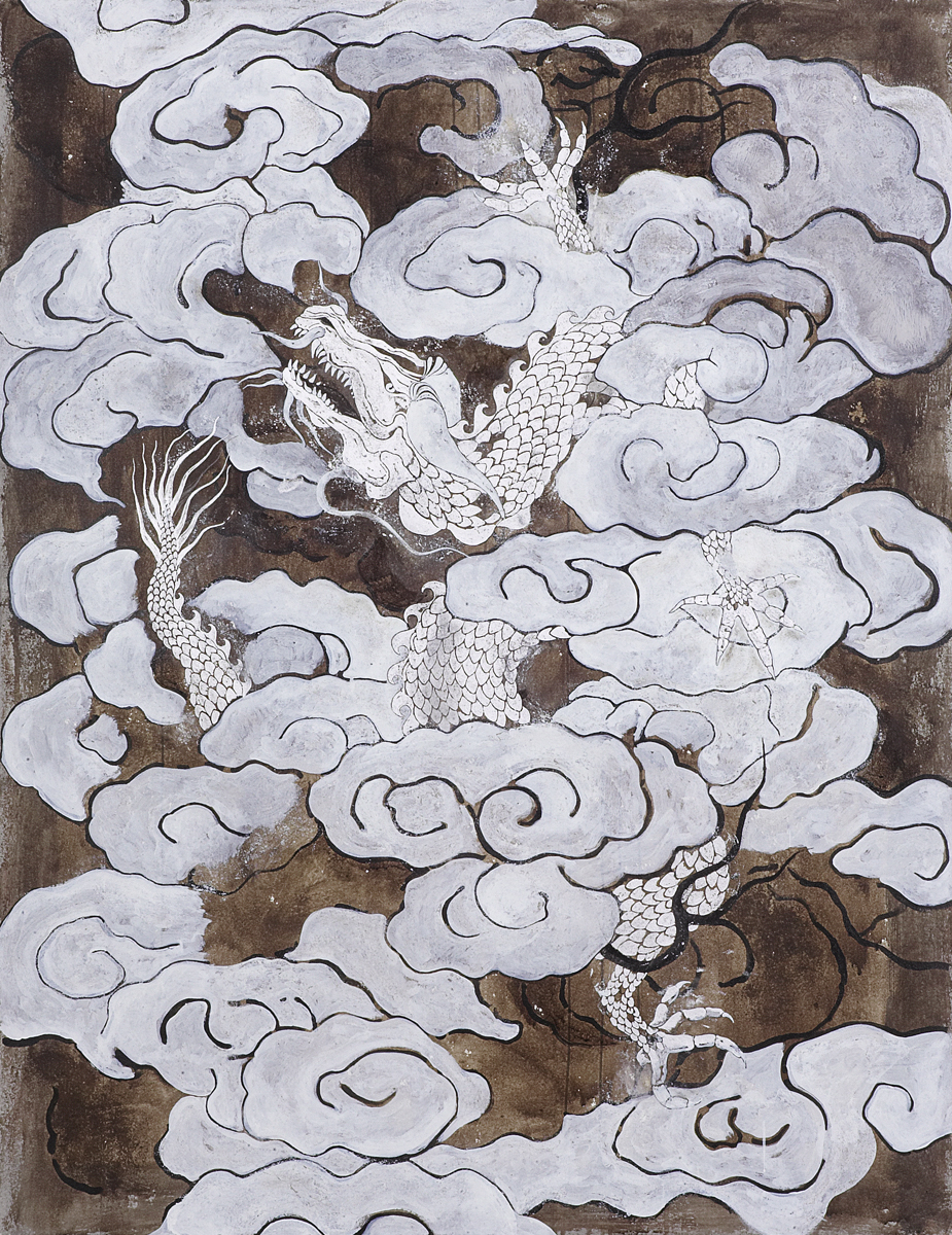 Chasing the dragon through the clouds, 2008 195 x 150 cm / 77 x 59 inches Pigments / Canvas