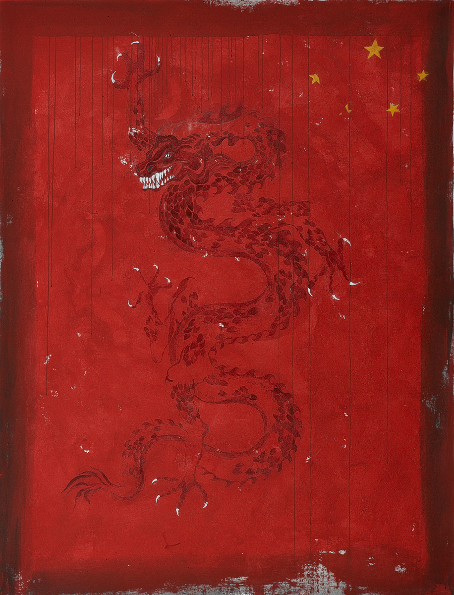 Chasing the chinese dragon II, 2009 195 x 150 cm / 77 x 59 inches Pigments / Canvas