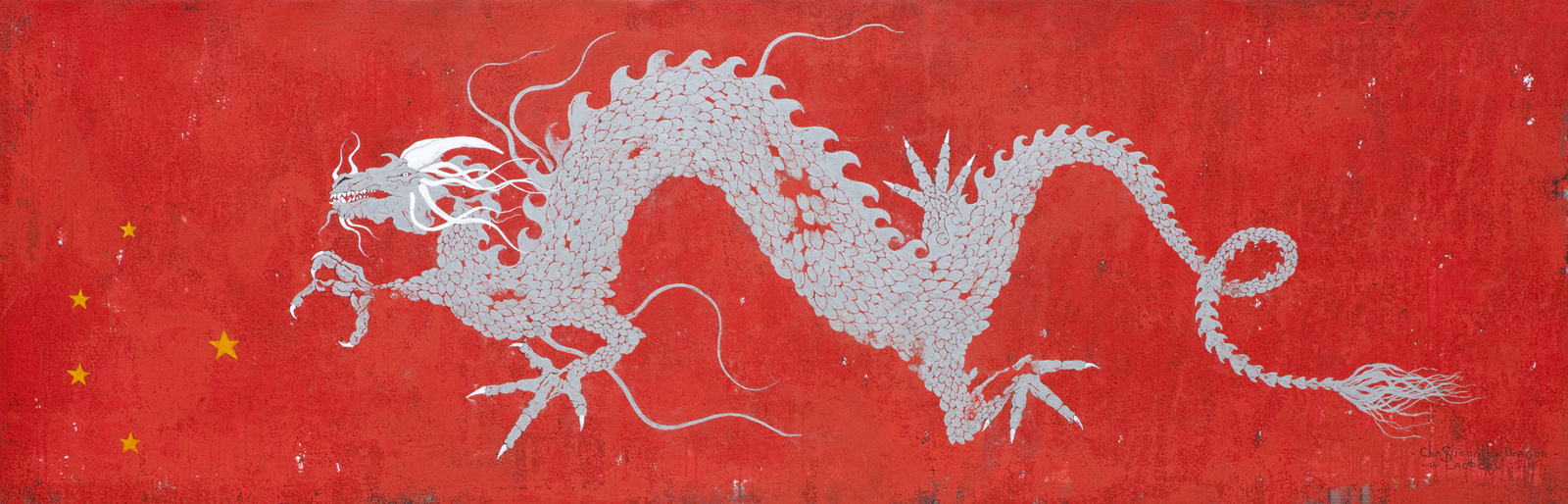 Chasing the dragon with Lao Tzu, 2010 100 x 300 cm / 39.3 x 118 inches Pigments / Canvas