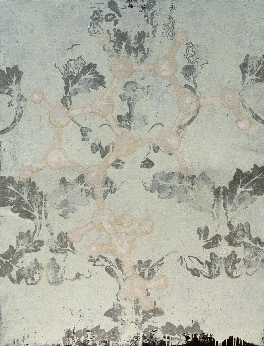 Serotonin Molecular Structure, 2010 195 x 150 cm / 77 x 59 inches Pigments / Canvas