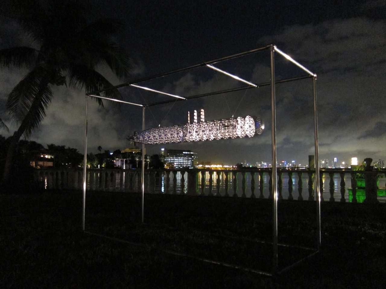 The Smoking Room Submarine, 2012 200 x 23 cm / 80 x 9 inches Aluminum Sculpture (View above Miami Beach)