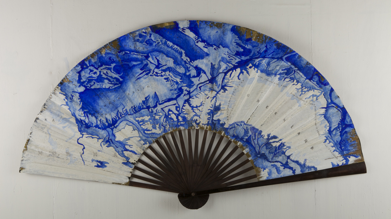North Geomagnetic pole, 2014 88 x 162 cm / 35 x 64 inches Pigments / Japanese folding fan