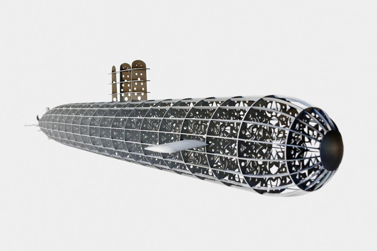 The Smoking Room Submarine, 2012 200 x 23 cm / 80 x 9 inches Aluminum Sculpture