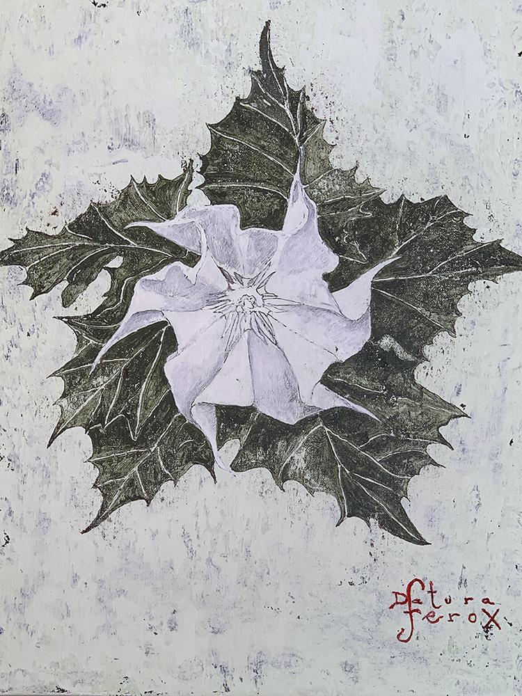Datura Ferox 37x30 cm, 2019, pigments / canvas