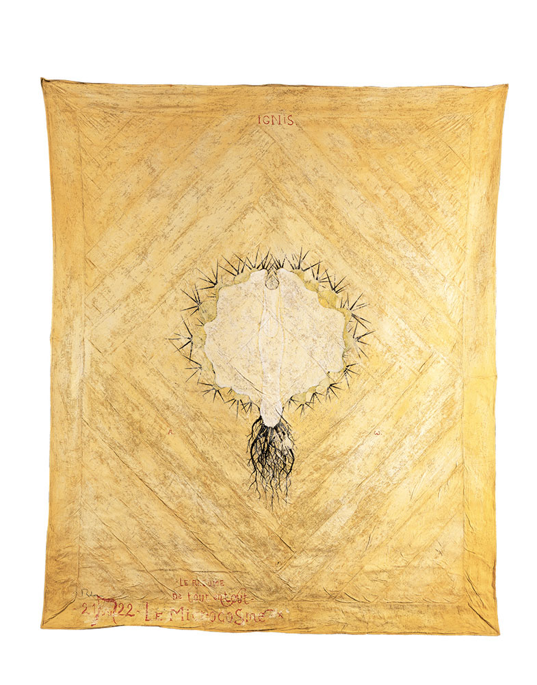 Le Microcosme 273x222 cm, 2002, pigments / Indian silk