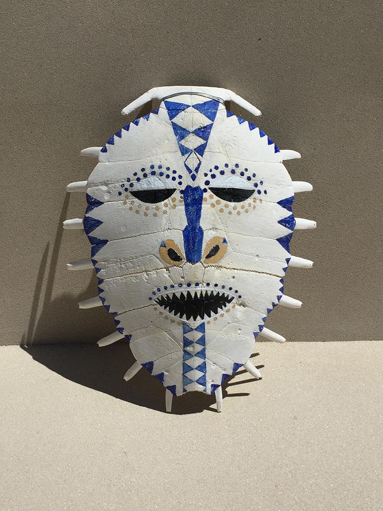 """Jabuti"" mask  40x32x11 cm , 2017 , pigments / Turtle outshell"